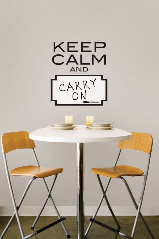 Keep Calm Dry Erase Wall Art Sticker with Pen